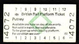 Railway Platform Ticket PUTNEY BRB(S) Green Diamond Edmondson - Railway