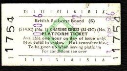 Railway Platform Ticket CHARING CROSS No.1 BRB(S) Green Diamond Edmondson - Railway
