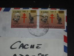 LETTRE CONGO ZAIRE AVEC YT 1286 X 2 - ROBERT KOCH TUBERCULOSE MEDECINE - - Zaïre