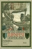 Zwölftes Deutsches Turnfest Leipzig 1913 - Repro Kaart ! - Cartoline