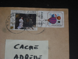 LETTRE CONGO ZAIRE AVEC YT 1282 ET 1181 - PAPE JEAN PAUL II - BALLON MONTGOLFIERE AEROSTAT - - Zaïre