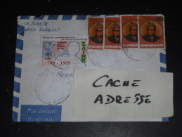 LETTRE CONGO ZAIRE AVEC YT 1337 X 4 ET 1252 - PRESIDENT MOBUTU - REVOLUTION FRANCAISE - - Zaïre