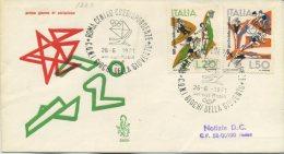 ITALIA - FDC VENETIA  1971 -  GIOCHI DELLA GIOVENTU´ - SPORT - ANNULLO A TARGHETTA - VIAGGIATA PER ROMA - 6. 1946-.. Repubblica