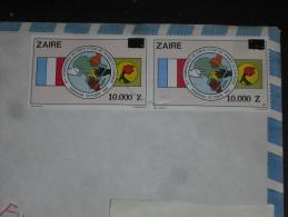 LETTRE CONGO ZAIRE AVEC YT 1350 X 2 - DRAPEAU MAIN CARTE - - Zaïre