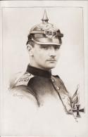 Carte Postale Photo Militaire Allemand- Dessin Fusain- Soldat Du 159 ème Regiment-Casque à Pointe-Croix Fer 1914-Krieg- - Régiments