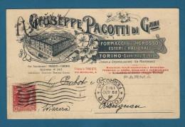 TORINO  CARTOLINA PUBBLICITARIA PACOTTI FORMAGGI CON BELLA VEDUTA STABILIMENTO - 1912 - Publicidad