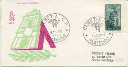 ITALIA - FDC  VENETIA 1971 -  POSTA AEREA  LIRE 100 - CAMPIDOGLIO - VIAGGIATA PER VENEZIA - F.D.C.