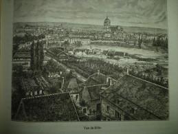 Vue De Dole , Gravure De Chevallier , Circa 1887 - Documents Historiques