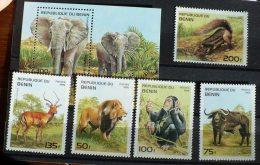 BENIN Animaux Divers, élephants, Chimpanze, Lion. (Yvert 708 Z-AD + BF 29E ** ) ** Neuf Sans Charniere. MNH - Timbres