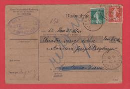 Carte De Contre Remboursement De Ribeauvillé Pour Montreux Vieux Mention Retour  Entête Vins Et Spiritueux Metz Frères - Alsace-Lorraine