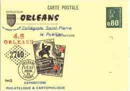 Exposition Philatélique Et Cartophilique - Orléans - Collégiale Saint Pierre Le Puellier - 22/02/1981 - Entiers Postaux