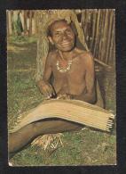 Papua New Guinea NUDE NAKED WOMAN WABAG WOMAN MAKING BILUM GRANDMA KNITTING + 1976 LOCAL STAMP USED - Papua Nuova Guinea