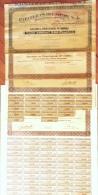 ACCIONES DE PAPELERAS REUNIDAS. ALCOY. ALICANTE. ESPAÑA- ACCIONES DE 1934, 47, 69 CON ALGUNOS CUPONES Y 1974 CON TODOS L - Industrial