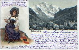 Suisse, Interlaken, Bernerin, Carte Précurseur, CP Ayant Circulé En 1905, Carte Avec Personnage Embouti (en Relief) - BE Berne