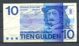 NETHERLANDS 10 GULDEN / 10 GUILDERS YEAR 1968 P91 USED BANKNOTE - [2] 1815-… : Kingdom Of The Netherlands