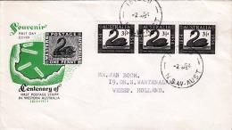 Australien 1954, First Day Cover, 3er Streifen, Dreieinhalb D Marken Frankierung Gelaufen 1954 Nach Holland - 1952-65 Elizabeth II: Dezimalausgaben (Vorläufer)