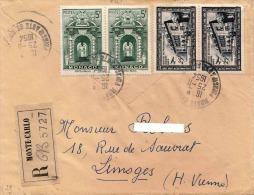 MONACO 1954, Schöner R-Brief, 4 Fach Frankierung, Gelaufen Von Monte-Carlo Nach Limoges - Monaco