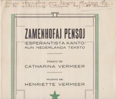 Esperanto Score Zamenhofaj Pensoj 1926 - Partituro Pri 'Zamenhofaj Pensoj' Kun Manskribo De La Awtorinoj - Boeken, Tijdschriften, Stripverhalen