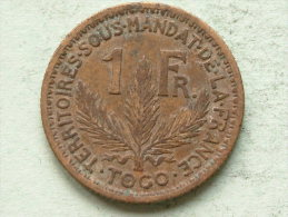 1924 - 1 FRANC - KM 2 ( Uncleaned Coin / For Grade, Please See Photo ) !! - Togo