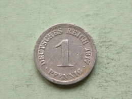 1917 G - 1 Pfennig - KM 24 ( Uncleaned Coin / For Grade, Please See Photo ) !!