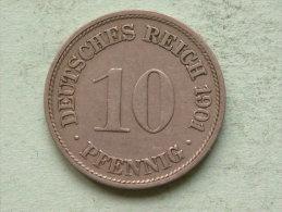 1901 F - 10 Pfennig - KM 12 ( Uncleaned Coin / For Grade, Please See Photo ) !! - [ 2] 1871-1918: Deutsches Kaiserreich