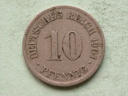 1901 D - 10 Pfennig - KM 12 ( Uncleaned Coin / For Grade, Please See Photo ) !! - [ 2] 1871-1918: Deutsches Kaiserreich