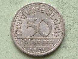 1921 A - 50 Pfennig - KM 27 ( Uncleaned Coin / For Grade, Please See Photo ) !! - 50 Rentenpfennig & 50 Reichspfennig