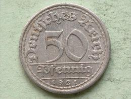 1921 E - 50 Pfennig - KM 27 ( Uncleaned Coin / For Grade, Please See Photo ) !! - 50 Rentenpfennig & 50 Reichspfennig