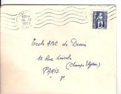 COLONIES  FRANÇAISE   ALGÉRIE   TIMBRE SUR LETTRE  1953 - Algeria (1924-1962)