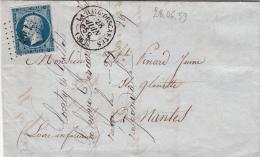 1859 ,  Lettre, INDRE ET LOIRE, PC1497 LA HAYE-DESCARTES Pour NANTES/ 4475 - Postmark Collection (Covers)