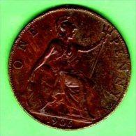 UK UNITED KINGDOM GREAT BRITAIN - 1906 - 1 Penny - KM 794 King Edward VII  VF - 1902-1971 : Monete Post-Vittoriane