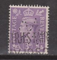 Engeland United Kingdom, Great Britain, Angleterre, Bretagne, King George VI, SG 490, Y&T Used PERFIN + SPECIAL CANCEL - 1902-1951 (Koningen)