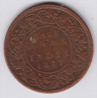 @Y@    BRITISH India 1/2   Anna 1877   (2594) - India