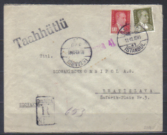 Turkey Cover To Czechoslovakia , Posted  Istanbul 13.12.19418 , Registered , Censored - 1921-... République