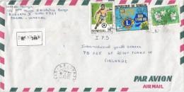 Senegal 1983 Dakar World Cup Football Soccer Spain 50f Lions Flowers Registered Cover - Senegal (1960-...)