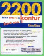 Azerbaijan GSM Prepaid - Azercell SIMSIM 2200 Kontur /like UNC / Rare Old - Azerbaïjan