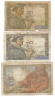 10 Francs 1944+1947 +20 Francs 1949  Lotto 1020 - 1871-1952 Antichi Franchi Circolanti Nel XX Secolo
