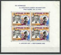 "Mali Bloc YT 4 "" Mort D'Albert Schweitzer "" 1965 Neuf** - Mali (1959-...)"