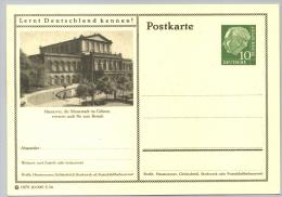 Deutschland GS 087 'Hannover, Opernhaus' / Germany P.c. 'Hanover Opera House', **/MNH, 1954 - Musique
