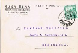 6472. Tarjeta Privada ZARAGOZA 1950. Casa Musica Pianos LUNA - 1931-Hoy: 2ª República - ... Juan Carlos I