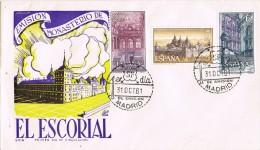 6475. Dos Cartas S.P.D.Madrid 1961, Monasterio Escorial - FDC