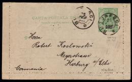 Romania 1900 - Postal Stationery Letter Card, Bucuresti - Harburg - Interi Postali
