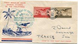 PHILIPPINES ENVELOPPE 1er JOUR DE LA PREMIERE UTILISATION DES TIMBRES DE POSTE AERIENNE DES PHILIPPINES 30 JUIN 1941 - Philippines