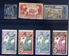 Ex-colonies--GUYANE-Lot De  6 Timbres-(petits Défauts)--Le 1er Timbre Est Déchiré Et Troué (non Comptabilisé) - Guyane Française (1886-1949)