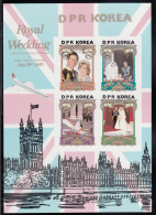 Korea, North MNH Scott #2116-#2119 Souvenir Sheet Of 4: Charles And Diana Royal Wedding, Imperf - Corée Du Nord
