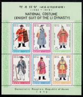 Korea, North MNH Scott #1849a Souvenir Sheet Of 6: Knight Suits Of The Li Dynasty - Corée Du Nord