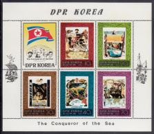 Korea, North MNH Scott #1936a Souvenir Sheet Of 5 Plus Label: Explorers - Magellan, Nansen, Piccard, Cousteau, Cook - Corée Du Nord