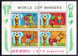 Korea, North MNH Scott #1767a Sheet Of 4: World Cup Of Soccer Winners: Argentina, Holland - 2nd, Brazil - 3rd - Corée Du Nord