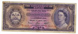 Belize , 2 Dollars, 1975, VG/F. - Belice