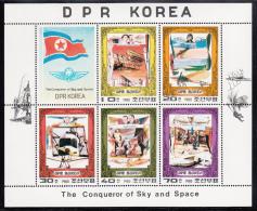 Korea, North MNH Scott #1947a Sheet Of 5 Plus Label: Flight Pioneers - Wrights, Bleriot, Fokker, Campini, Zeppelin - Corée Du Nord